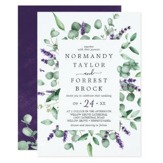 Rustic Lavender & Eucalyptus All In One Wedding Invitations