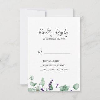 Rustic Lavender & Eucalyptus Simple RSVP Card