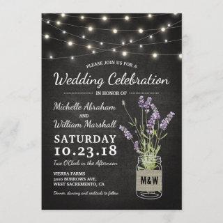 Rustic Lavender Mason Jar Lights Wedding Invitation