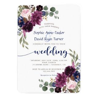 Rustic Lavender Navy Blue Floral Bloom Wedding Invitations