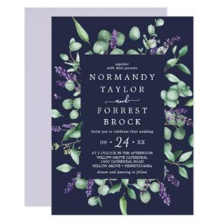 Rustic Lavender | Navy Blue Floral Frame Wedding Invitations