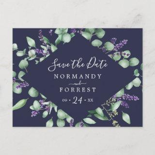 Rustic Lavender   Navy Blue Save the Date Postcard