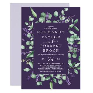 Rustic Lavender | Purple Floral Frame Wedding Invitations