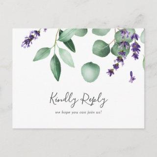 Rustic Lavender Song Request RSVP Postcard