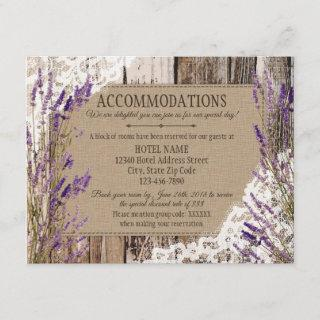 Rustic Lavender Wood Lace Accommodations Card