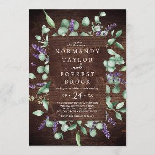 Rustic Lavender | Wooden Floral Frame Wedding Invitation