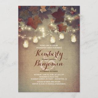 Rustic Leaves and Mason Jars Fall Engagement Party Invitation