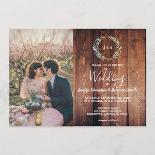 Rustic leaves on barn wood monogram photo Wedding Invitation