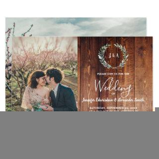 Rustic leaves on barn wood monogram photo Wedding Invitations