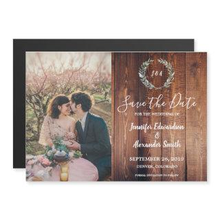Rustic leaves on barn wood photo Save the Date Magnetic Invitation