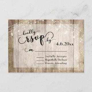 Rustic Light Brown Wood & Lights Wedding RSVP 2