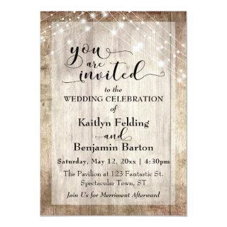 Rustic Light Brown Wood w/ Light Strings, Wedding Invitations