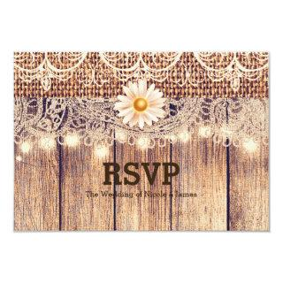 Rustic Lighted Mason Jars Daisies & Lace RSVP Card