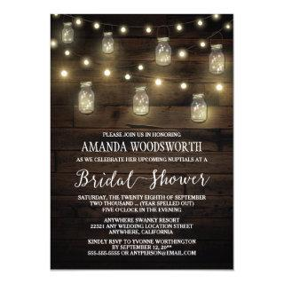 Rustic Lights Mason Jar Bridal Shower Invitations