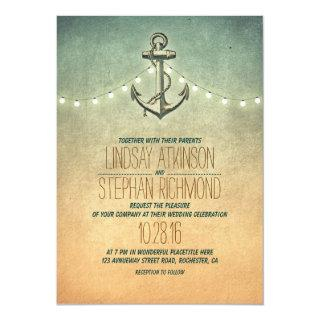 Rustic lights nautical anchor wedding Invitations