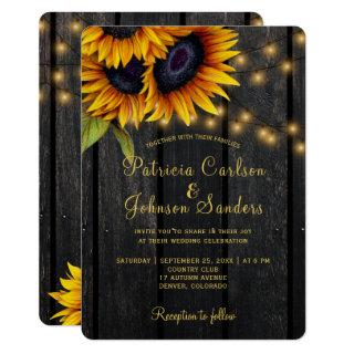 Rustic lights sunflower barn wood wedding Invitations