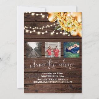 Rustic Lights Watercolor Sunflower and Photos Save The Date