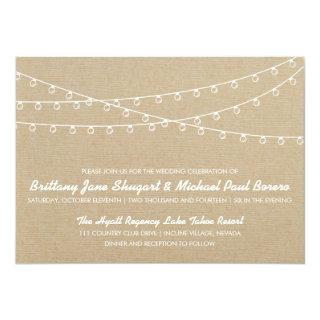 Rustic Lights White Wedding Invitations
