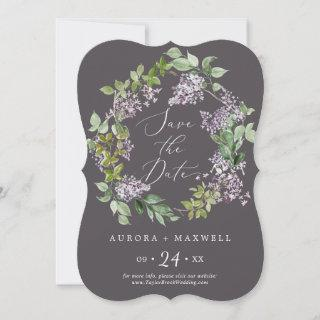 Rustic Lilac   Gray Wedding Save The Date