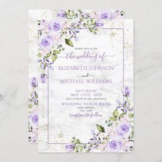 Rustic Lilac Lavender Gold Marble Floral Wedding Invitations