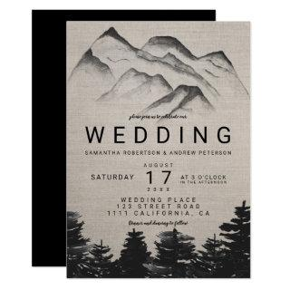 Rustic linen watercolor forest mountains wedding invitation