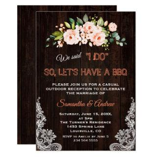 Rustic Living Coral Flowers Lace I DO BBQ Invitations