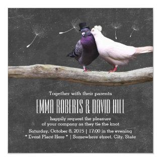 Rustic Love Birds & Dandelion Chalkboard Wedding Invitation