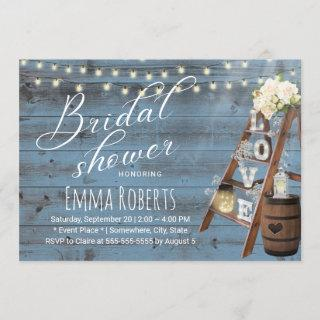 Rustic Love Ladder Dusty Blue Wood Bridal Shower Invitations