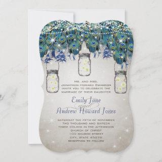 Rustic Luxe Mason Jar Navy Turquoise Peacock
