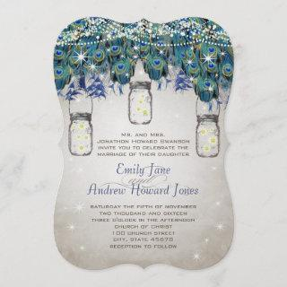 Rustic Luxe Mason Jar Navy Turquoise Peacock Invitations