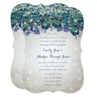Rustic Luxe Mason Jar Navy Turquoise Peacock Invitation