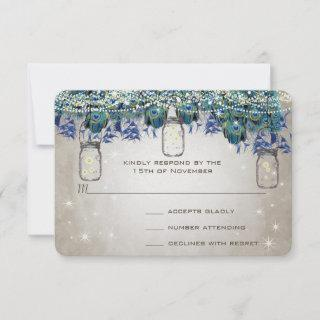 Rustic Luxe Mason Jar Navy Turquoise Peacock RSVP Card