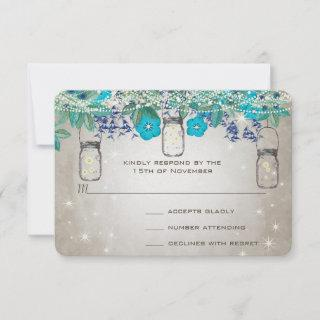 Rustic Luxe Mason Jar Navy Turquoise RSVP Card