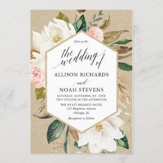 Rustic magnolia floral white blush wedding invitation