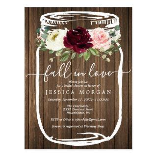 Rustic Mason Jar Fall In Love Bridal Shower Invite