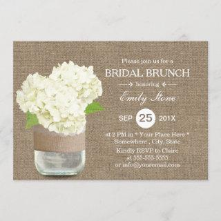 Rustic Mason Jar & Hydrangea Burlap Bridal Brunch Invitations