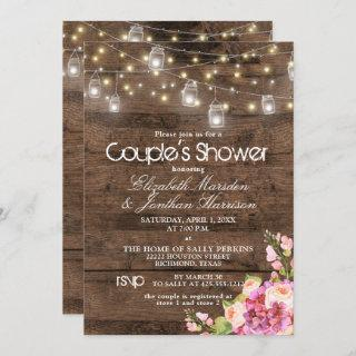 Rustic Mason Jar Lights Blush Floral Bridal Shower Invitation