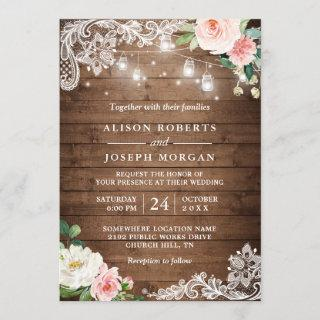 Rustic Mason Jar Lights Floral Lace Wedding Invitations
