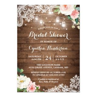 Rustic Mason Jar Lights Lace Floral Bridal Shower Invitations