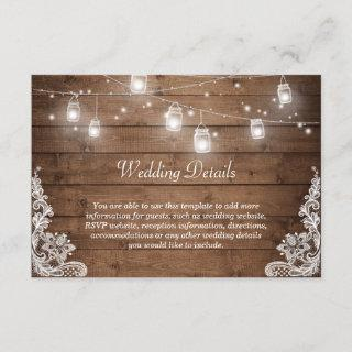 Rustic Mason Jar Lights Lace Wedding Details Info Enclosure Card