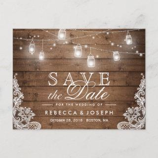 Rustic Mason Jar Lights Lace Wedding Save the Date Announcement Postcard