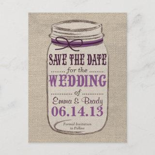 Rustic Mason Jar Save the Date Purples Announcement Postcard
