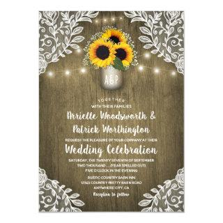 Rustic Mason Jar Sunflower Wedding Invitations