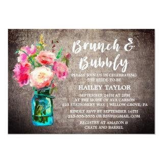 Rustic Mason Jar with Flowers Brunch and Bubbly Invitation
