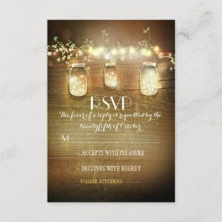 rustic mason jars string lights wedding RSVP cards