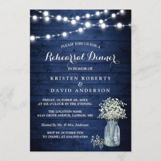 Rustic Midnight Night Blue Lights Rehearsal Dinner Invitations