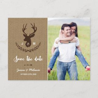Rustic Monogram | Stag Photo Save the Date Announcement Postcard