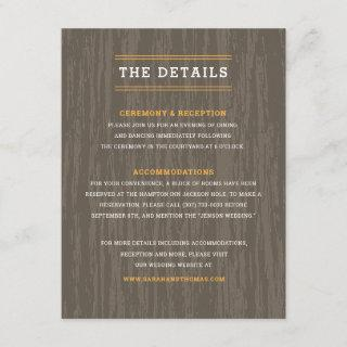 Rustic Moose Outdoor Wedding Details Enclosure Card