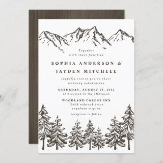 Rustic Mountain Elegant Watercolor Pine Wedding Invitations