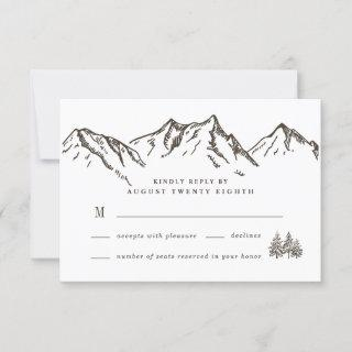 Rustic Mountain Elegant Watercolor Pine Wedding RSVP Card